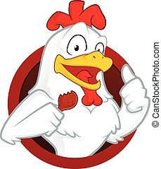 Chicken holding a fried chicken - Clipart picture of a...