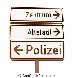 German traffic sign vintage - German traffic signs isolated...
