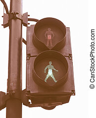 Green Light vintage - Green light on a traffic light or...