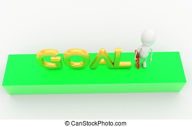 3d man holding a puzzle in hands and presenting goal concept