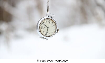 Winter time concept - Winter time idea Pocket watch and...
