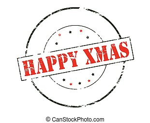 Happy Xmas - Rubber stamp with text happy Xmas inside,...