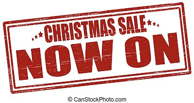Christmas sale now on - Rubber stamp with text Christmas...