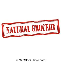 Natural grocery - Rubber stamp with text natural grocery...