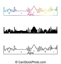 Agra skyline linear style with rainbow in editable vector...
