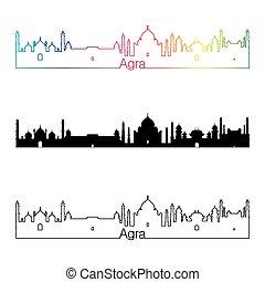 Agra skyline linear style with rainbow in editable vector...