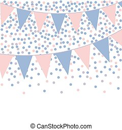 bunting background with confetti