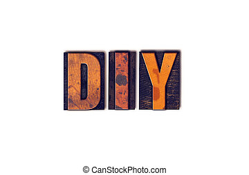 DIY Concept Isolated Letterpress Type