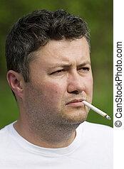 Middle eastern man smoking