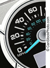 An automobile odometer close up