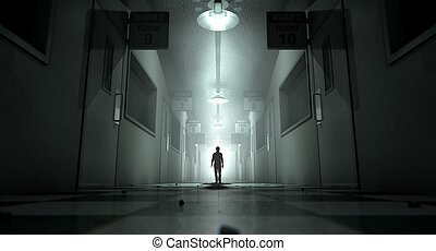 Mental Asylum With Ghostly Figure - A ghostly figure casts a...