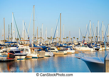 Long Beach Marina - LONG BEACH, CA - JUNE 24: A scenic view...