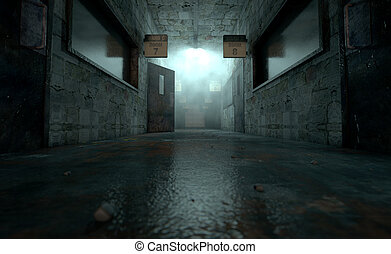 Mental Asylum Haunted - An eerie haunted look down the dimly...