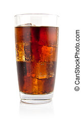 Glass of cola with ice cubes isolated on white