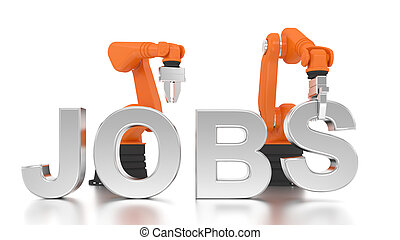 Industrial robotic arms building JOBS word