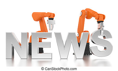 Industrial robotic arms building NEWS word