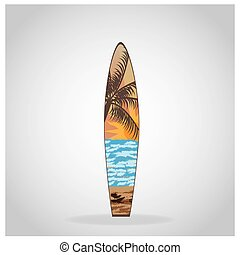Surfboard - Isolated surfboard with a texture on a grey...
