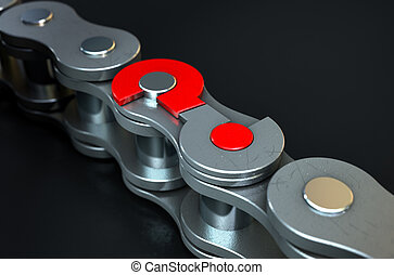 Bicycle Chain Missing Link - A regular bicycle chain with a...