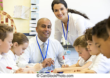 Teachers Happy at School - A male and female teacher sit...