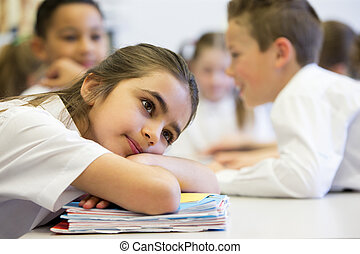Struggling At School - A close up shot of a little girl at...