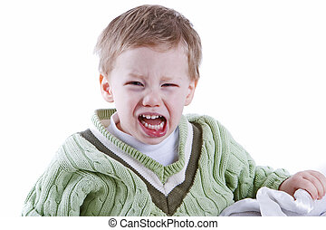 Toddler rage - Young boy having a fit of anger portrait