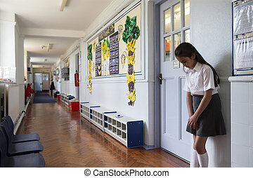 Go Stand in the Corridor - Naughty school girl stands in the...