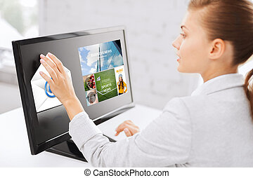 woman with web pages on touchscreen in office - business,...