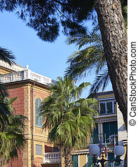 sestri levante - detail of houses in sestri levante a...
