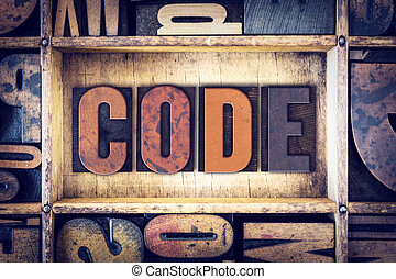 Code Concept Letterpress Type - The word Code written in...