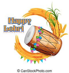 Happy Lohri background - illustration of Happy Lohri...