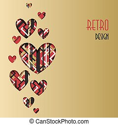 Retro love card. Heart design with golden backgound.