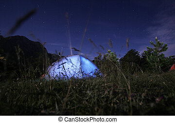 Camping under the stars at nigh