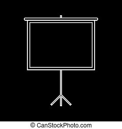 Blank Projection screen. White on the black