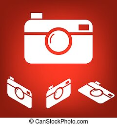 Digital camera icon set. Isometric effect. White on the red