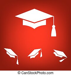 Mortar Board or Graduation Cap, Education symbol set...