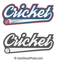 Vintage cricket label and badge Illustration isolated on...