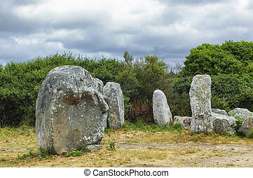 Carnac (Brittany, France): menhir and dolmen - Carnac,...