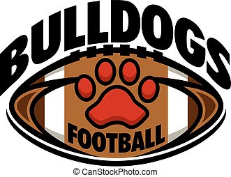 bulldogs football team design with paw print inside ball for...