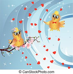 Spring in love birds, - spring composition with birds in...