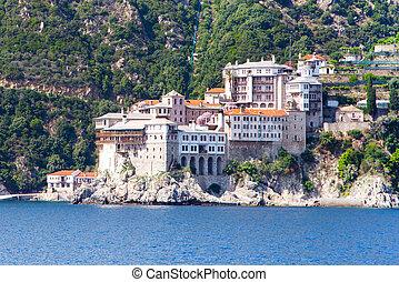 Agia Grigoriou Orthodox monastery at Mount Athos, Halkidiki...