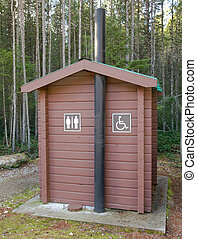 Campsite outhouse - A traditional pit toilet outhouse at a...