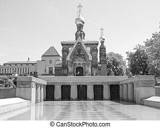 Black and white Russian Chapel in Darmstadt - Russian Chapel...