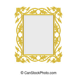 Golden frame over white - Isolated decorative golden frame...