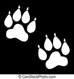 Animal Tracks. Vector illustration. White on the black