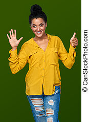 Woman showing six fingers - Hand counting - six fingers....
