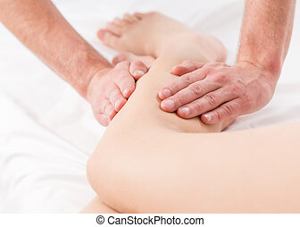 Close-up of massage - Close-up of male physiotherapist doing...