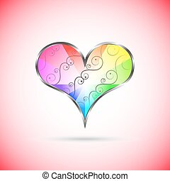 Rainbow heart with curly pattern inside
