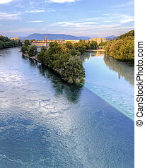 Rhone and Arve river confluence, Geneva, Switzerland, HDR -...
