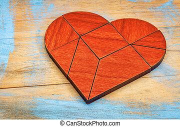vermelho, madeira, Coração, tangram,