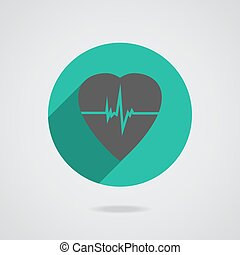 Defibrillator red heart icon isolated on yellow background...